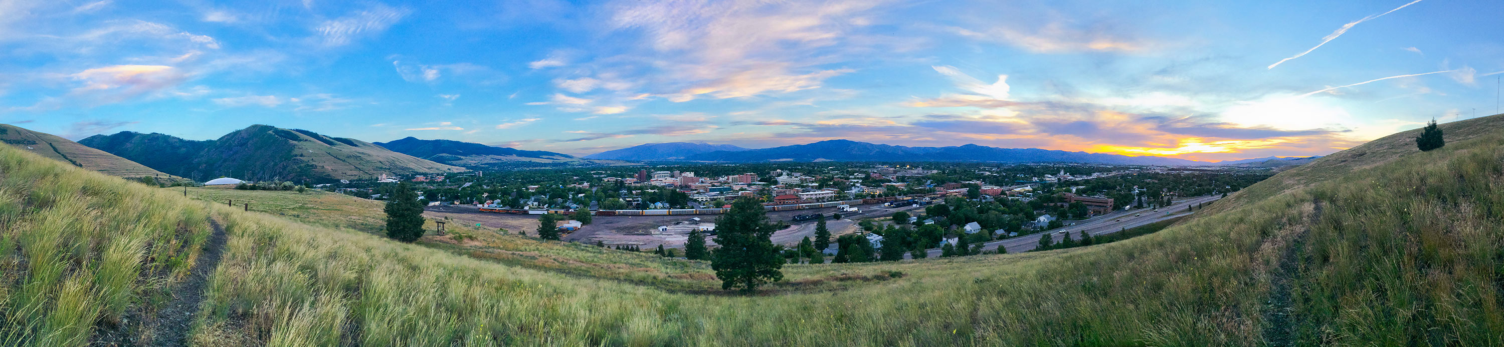 Summer sunset over Waterworks Hill in Missoula