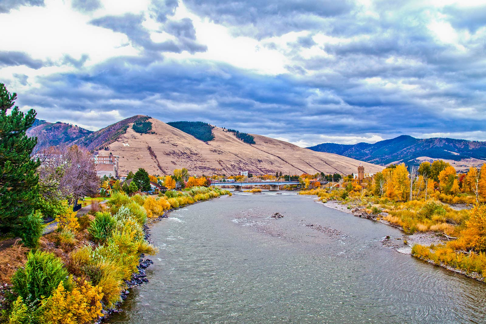 Fall colors around Missoula's Clark Fork River in Downtown