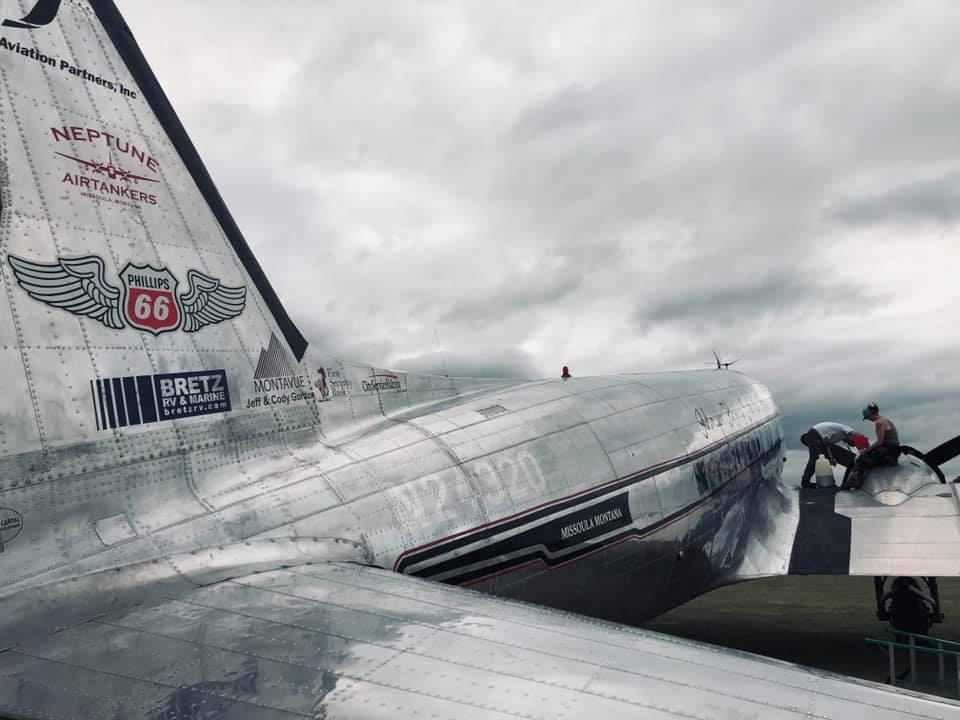 The aviation mechanics at work.