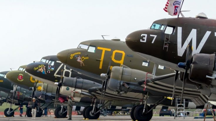 The impressive lineup of aircrafts heading to Normandy.